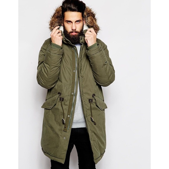 shopping cheap buying new ASOS Fishtail Mens Parka Coat with Thinsulate S